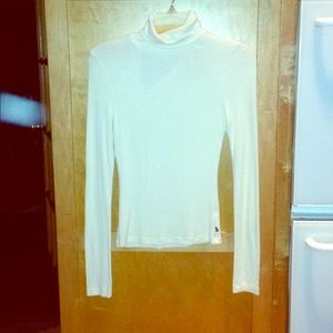 Thin ivory James Perse cotton stretch turtleneck